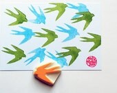 swallow rubber stamp | bird stamp | woodland animal | wedding birthday card making | diy planner | hand carved by talktothesun