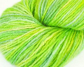 "Organic 100 % bamboo yarn ""February"", vegan, hand dyed yarn, 3.5 oz, light green, fingering weight, knitting, crochet,"