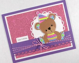 Girls birthday card, 1st birthday, first birthday, teddy bear, kids birthday card, PERSONALIZED card, childrens birthday
