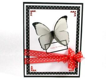 Butterfly birthday card, butterflies, feminine birthday, red black white, happy birthday, elegant birthday cards