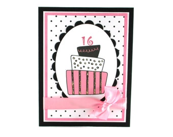 Sweet 16 birthday card, sweet 16th, 16th birthday for teenagers, girls birthday, birthday cake