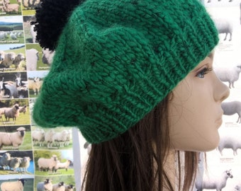 Ooo La La !  green wool blend beret tam with silky  black flecks an irish granny original hand knit creation