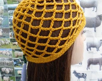 Gold yellow Abba crochet cap mesh beanie an irish granny original 60s sixties revival
