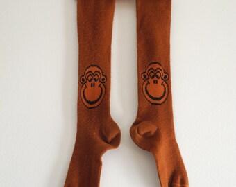 1970s knee hi MONKEY socks OS fits most