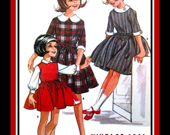 Vintage 1961-ENGLISH SCHOOLGIRL DRESS-Designer Sewing Pattern-Three Styles-Attached Petticoat-Twirl Skirt-Helen Lee Original-Size 6-Rare