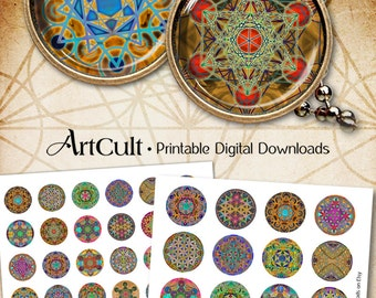 1 inch and 1.5 inch circles SACRED GEOMETRY ORNAMENTS Flower of Life Metatron's Cube Printable Digital Downloads for pendants magnets bezels