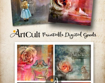"Printable 3.8""x3.8"" Images for Coasters MAGICAL FANTASY Digital Collage Sheet Greeting cards Paper goods decoupage scrapbooking home decor"