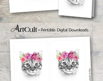 Printable digital download BIRHTDAY KITTY set of artwork and greeting cards for totes, t-shirts pillows home decor, Iron On Transfer ArtCult