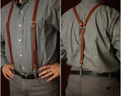 Leather Suspenders- men's brown black steampunk Y back- unisex Browncoat costume, Brown or Black Braces w/snap hooks from MyFunkyCamelot