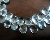 AQUAMARINE Pear Briolettes, Faceted Gemstone Beads, 1 MATCHED PAIRS, High Quality,  9-10mm, Wholesale Beads, Brides