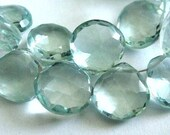 Aquamarine Heart Briolettes, Faceted Gemstone Beads, 2 MATCHED PAIR ,High Quality, 11-12mm, March Birthstone, Wholesale Beads, Brides,