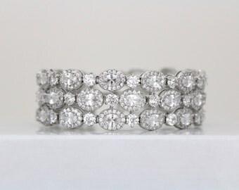 Crystal Bridal Bracelet, Wedding bracelet, Wedding jewelry, Tennis Bracelet, Cuff bracelet, Rhinestone wedding bracelet, Statement bracelet