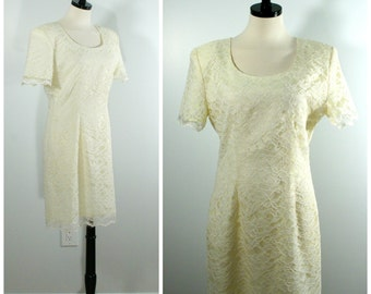 Vintage Lace Dress, Fitted Sheath White Cocktail Dress, Short Bridal Dress