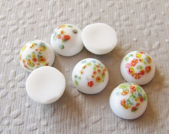 12mm Round White Millefiori Speckled Vintage Glass Cabochons (4)