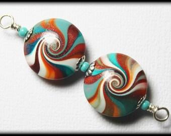 Painted Desert...Handmade Polymer Clay Beads Set Earring Pair Turquoise Terra Cotta Orange Aqua Silver Lentil Lentils Swirl Spiral Bead Caps