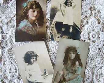 CLEARANCE - Antique pretty girl photo postcard lot, photo postcard lot, children photo postcard lot, Vintage French photo postcard lot