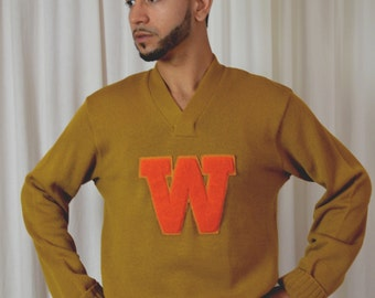 Mens Letter Sweater, Football Sweaters, Wisconsin Football Sweater, 1950s Sweater, Pull Over, Size 46R, Gold Sweater, Gift for Him