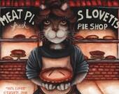 Mrs Lovett Cat, Sweeney Todd, Penny Dreadful Original Art Acrylic Painting