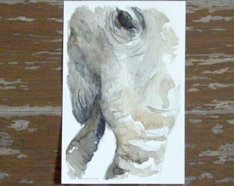 elephant painting face close up watercolor wall art animal decoration