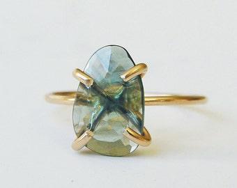 SALE Green Tourmaline Gold Ring OOAK
