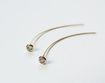White Topaz Spike Earrings OOAK Gold Filled