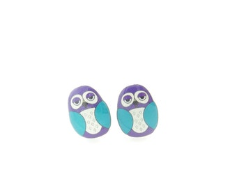 """Purple and Turquoise  Owl  Earrings.  Post or Stud Earrings.  SMALL and Lightweight 1/2"""" or 13 mm Tall."""