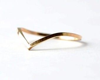 Gold Chevron Ring: V Shaped
