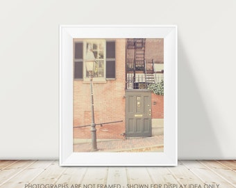 Boston Photography, Pastel, Soft Door Photography, Beacon Hill, Pretty Whimsical Art Print, Historical Architecture, City Street Brick