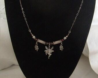 Vintage Sterling Garnet and Rose Quartz Fairy Necklace