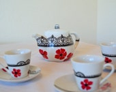 Tea Set Hand Painted Child's Sized Black Lace Red Poppies