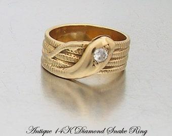 Antique 14K Snake Ring Diamond Eye Coiled Body, Victorian Serpent Ring, Wedding Engagement Ring