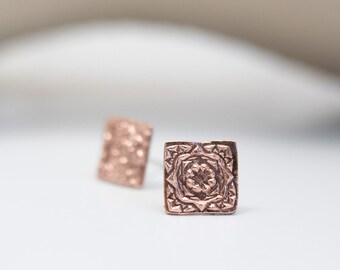 Square Earrings Copper Jewelry Metal Jewelry 7th Anniversary Gift for Wife Seventh Anniversary Organic Shape Clay Jewelry Unique Earrings