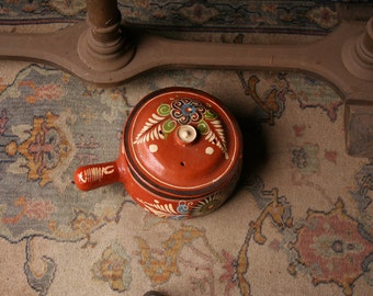 Vintage Mexican Hand Painted Pot With Lid From Nowvintag on Etsy