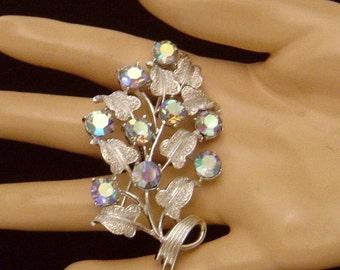Vintage CORO blue Aurora Borealis Brooch pin