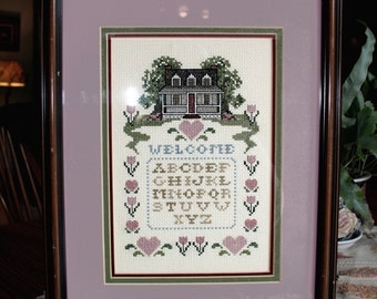 Cross Stitch Welcome Sampler, Framed Cross Stitch, Completed Finished, Vintage Sampler, Entry Decor, Housewarming Gift, Counted Cross Stitch