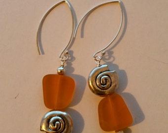 sea glass pewter shell earrings
