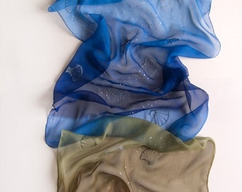 Ombre Silk Chiffon scarf hand painted/ Blue brown scarf with silver seashells/ Transparent scarf duo toned/ Silk painting/ Holidays gift mom