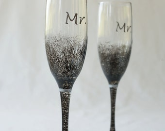 Wedding Flutes, Mr. Mr., Groom Groom, metallic black, Champagne Flutes, set of two toasting flutes