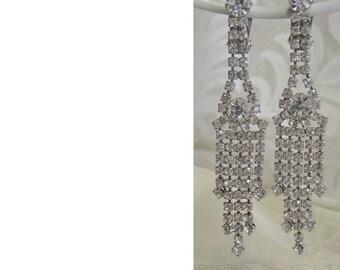 Vintage Rhinestone Chandelier Clip Earrings