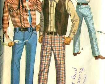 Vintage 60s Simplicity 8300 Mens UNCUT Western Wear Yoked Shirt, Pants and Vest Sewing Pattern