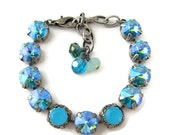 Swarovski Crystal Bracelet Glacier Blue Peridot, 47ss 11mm Size, Chunky Rhinestone Bracelets, Stacking Bracelets, Gifts for Her, Tennis