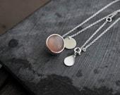Light Peach Moonstone ball pendant necklace