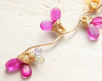 Fuchsia Pink Ruby Neckace, Precious Stone Jewelry, Hot Pink Pendant, Gold Necklace
