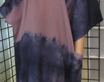Gorgeous Caftan, Kaftan Dress, Hand Dyed, Hi Lo  with pockets Plus, One Size