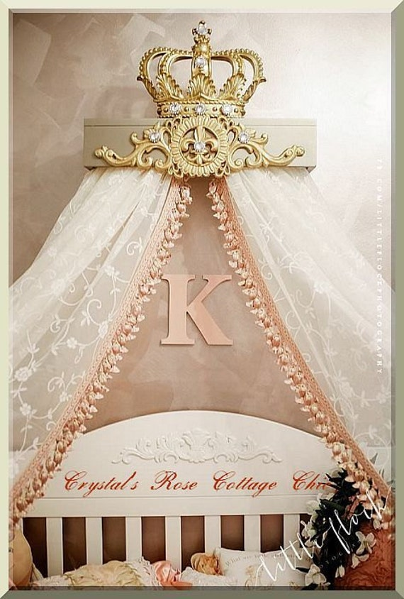 Champagne and Gold Fleur de Lis Bed Crown Canopy Teester Color Choices  Bedroom Nursery. Champagne and Gold Fleur de Lis Bed Crown Canopy Teester Color