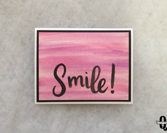 Smile - pink, purple, watercolor, brushlettering greeting card