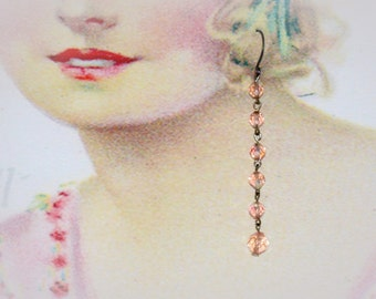 Extra Long Pink Dangle Statement Earrings. Repurposed Up-cycled Jewelry