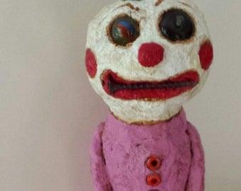 Lost Your Marbles Outsider Folk Art Clown Art Doll