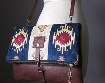 Fold over leather bag, leather clutch, bohemian clutch, gipsy bag, cross body bag, kilim bag, hippie bag, Aztec bag, leather bag, carpet bag