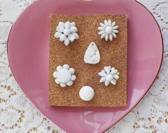 Milk White Glass Vintage Jewelry Tacks / Thumbtacks / Push Pins, Wedding Decor, Home Decor, Office Decor, Cottage Decor, Bulletin Board